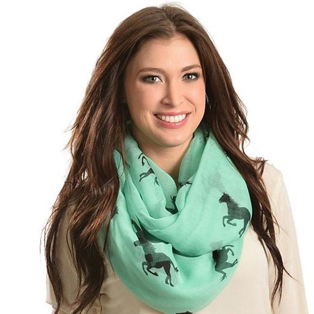 Бесплатная доставка 2016 новинка конь животное напечатаны бесконечность шарфы поводка ...