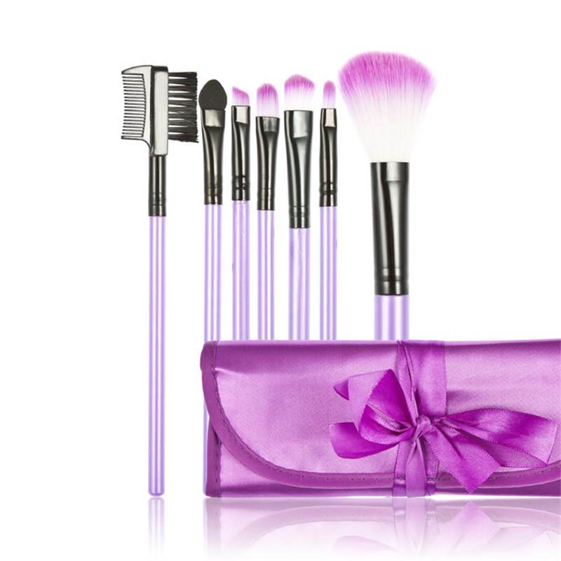 Pro 7 pcs makeup brush set tools powder foundation eyeshadow eyebrow lip cosmetic kabuki synthetic hair wood handle soft kit(China (Mainland))
