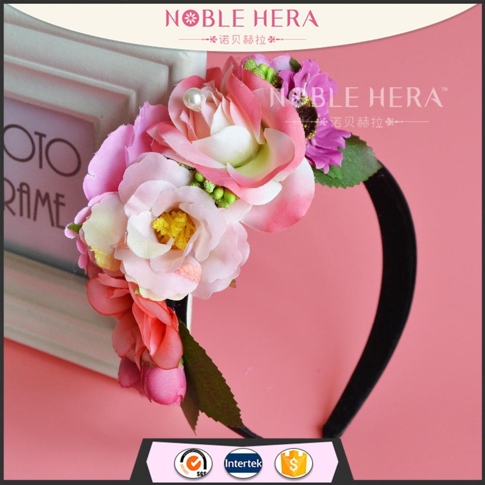 Party Queen Headband Silk Floral Rose Black Flower Headbands Design