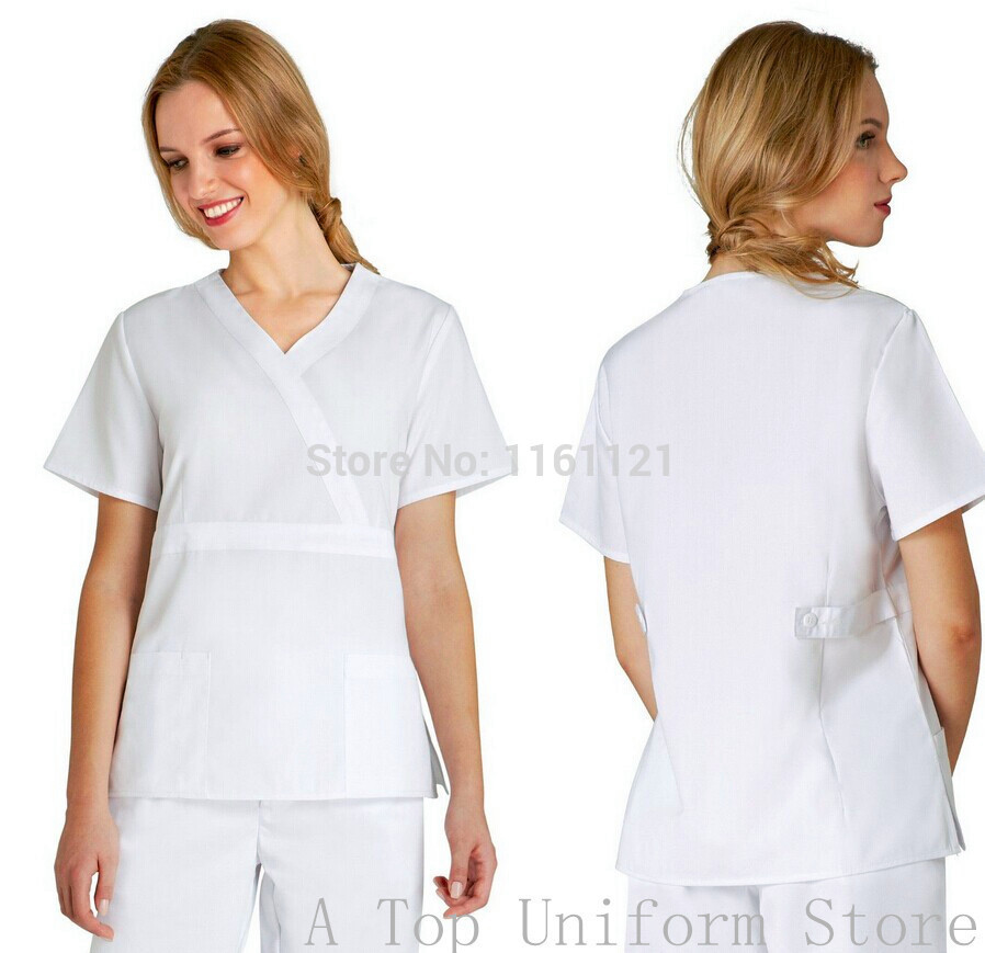 2015 New Arrival Women's Hospital Surgical Or Medical Uniform Scrub Clothes Sets Short Sleeve with Adjusted Best At Waist Side(China (Mainland))