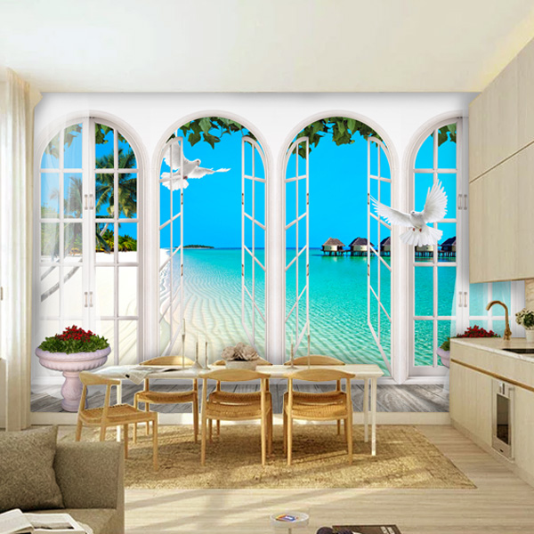 wholesale papel de parede 3d window wall mural photo frame