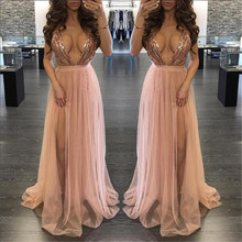 Buy Hot sale party maxi dress sling evening deep v-neck backless sequin top patchwork sexy elegant strap dresses vestidos for $20.89 in AliExpress store