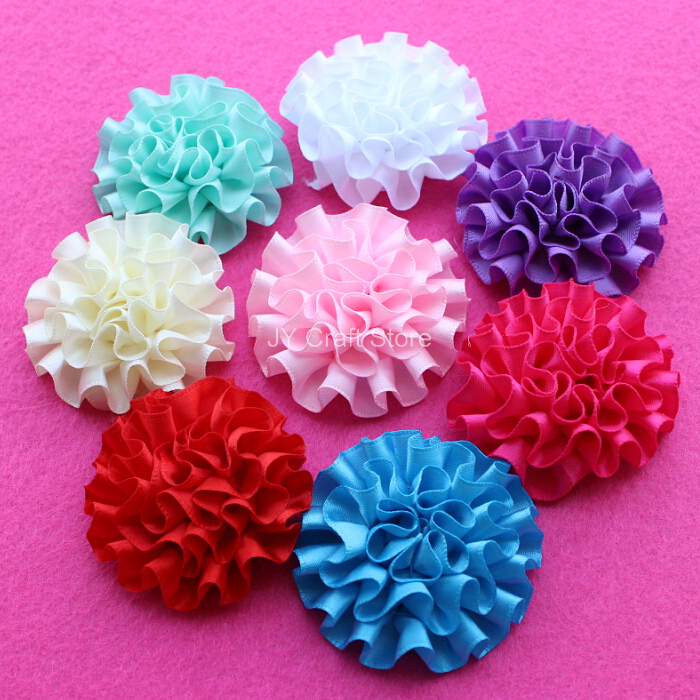 20color U Pick,50pcs/lot big cabbage satin puff flowers, 2inch satin flower, satin flower, headband supplies, hair bow supplies(China (Mainland))
