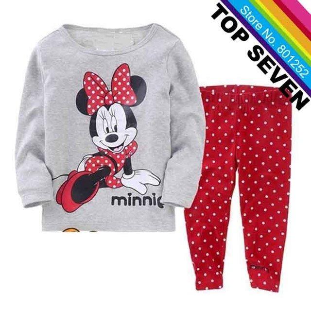 Hot Sale Little Girls Minnie Mouses Cartoon Pajamas Suits Kids Cotton Tee+Polka Dot Pants Sport Clothing Children Sleepwear