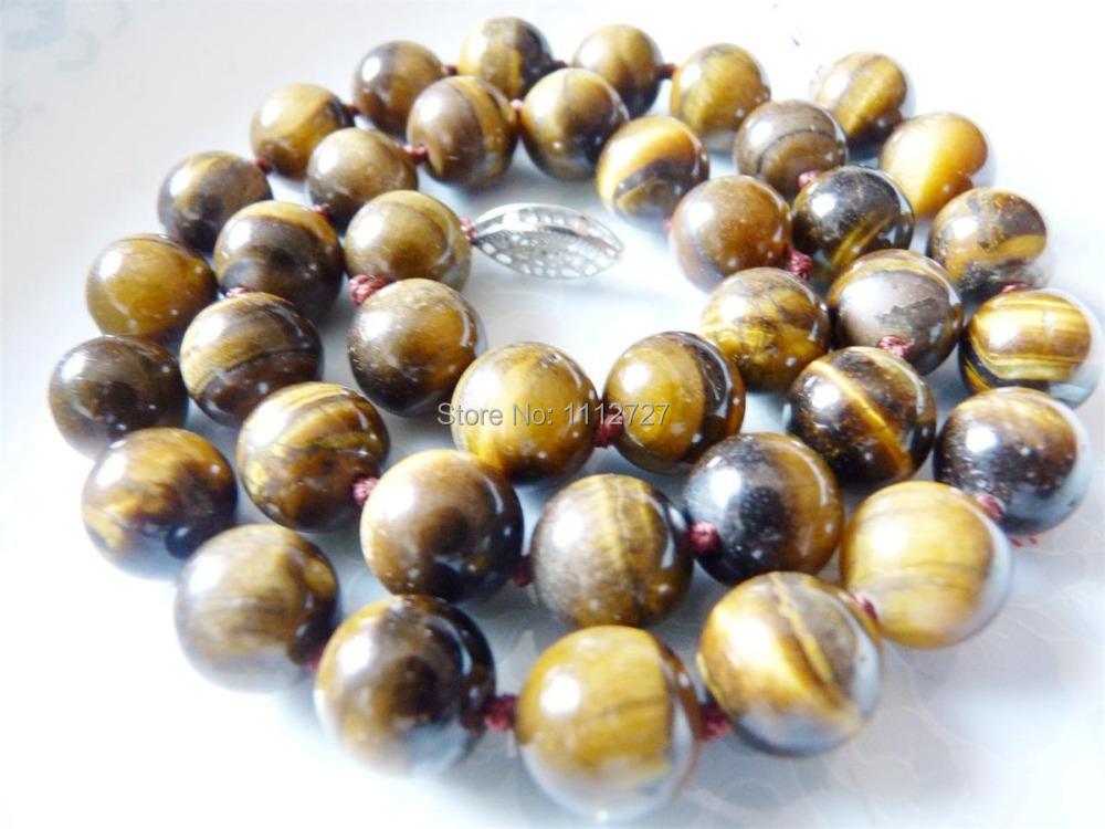 "Fashion Beautiful Gorgeous 10mm tiger eye Jasper necklace 17"" beads jewelry making Natural Stone GE416 Wholesale Price(China (Mainland))"
