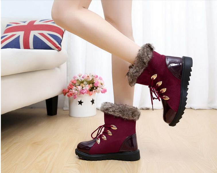 women waterproof outdoor flat snow boots, winter thicken cotton shoes, add wool warm fashion short boots - Beautiful maple forest store