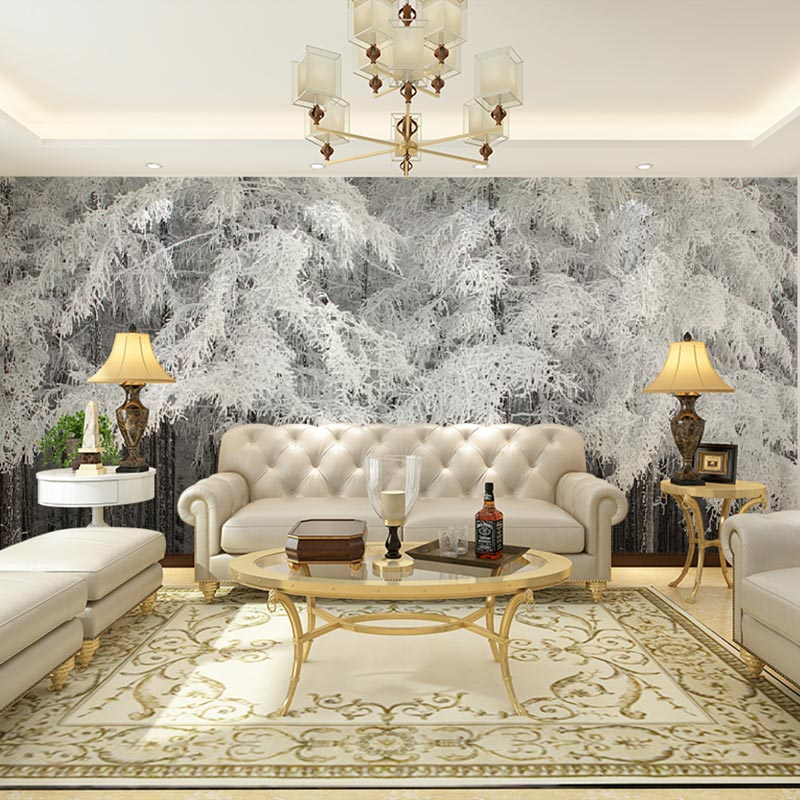 Buy custom home decor papier murals snow for Winter wall murals