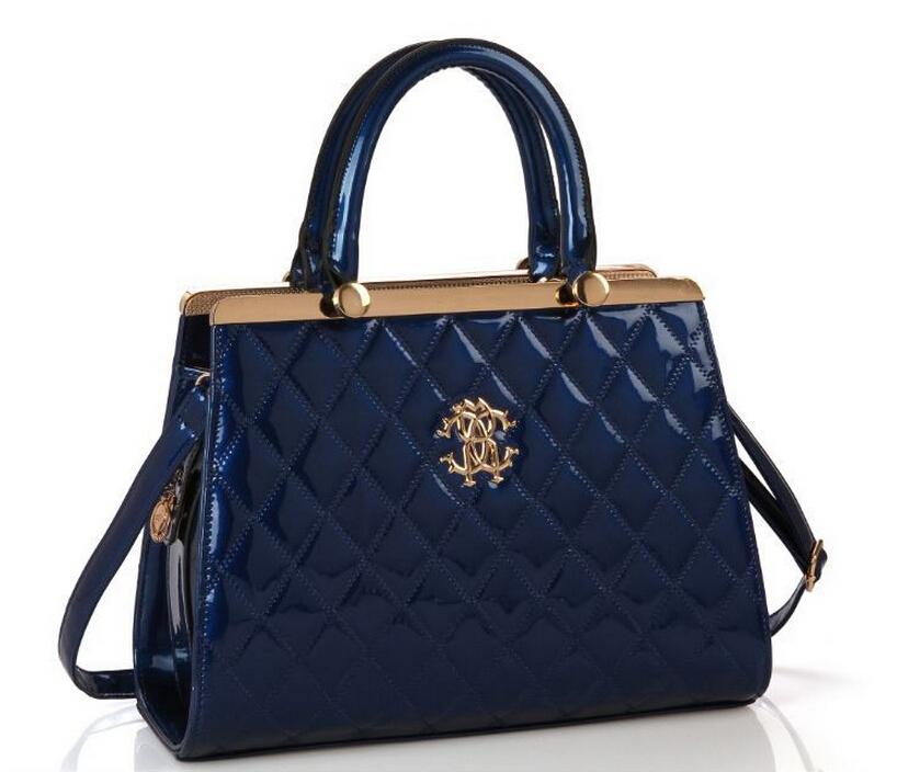 Women's handbag 2016 fashion diamond lattice one shoulder bag bolsa feminina handbag Luxury tote Patent leather bags for women(China (Mainland))