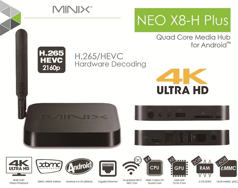 Minix neo x8h x8-h plus support H.265 Amlogic S812 Quad-Core Android 4.4 Google TV Player 2GB 16GB 4Kx2K +NEO A2 lite Air Mouse(China (Mainland))