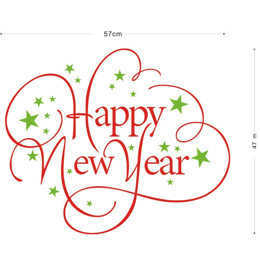 Happy New Year Chrismas Decal Decor Wall Stickers Glass Little Stars Decorative Window Stickers Removable Wall Decals Vinyl Art(China (Mainland))