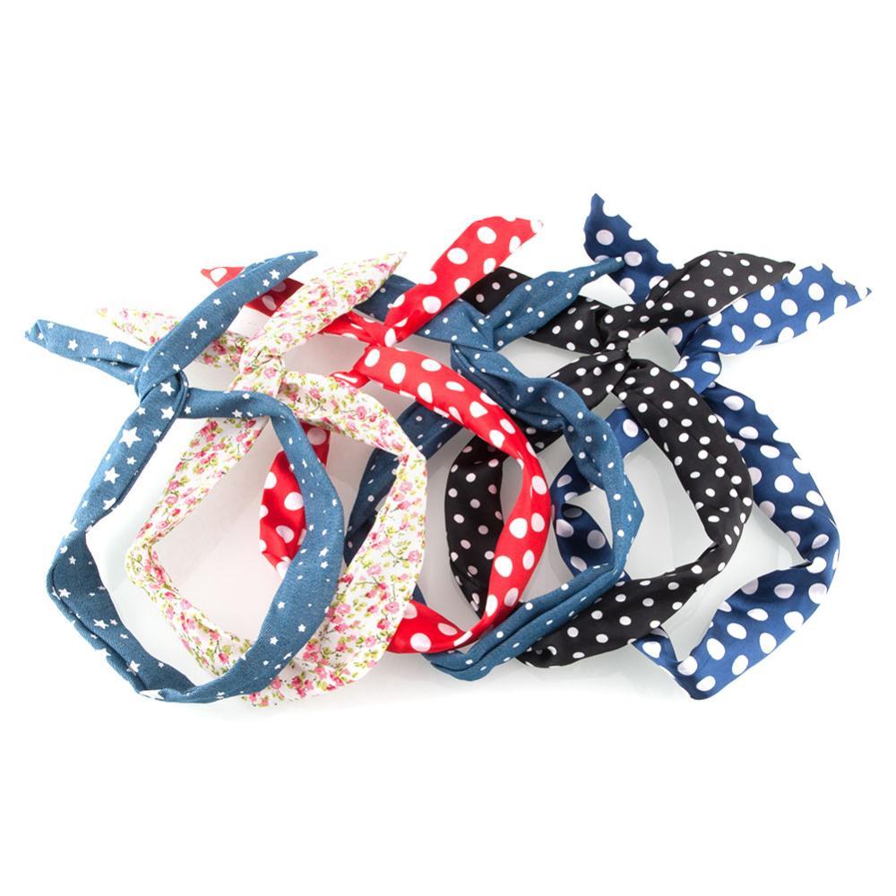 New Fashion Retro Wire Bendy Headband Hair Blue Scarf Band Big Dot Beauty Accesory free shipping(China (Mainland))
