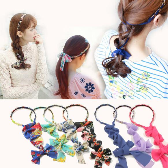 AHO476(12), Fabric Chiffon Ribbon Floral Print Scarf Tie Pearl Rhinestone Hair Band Bow Turban Headband Women Hair Accessories(China (Mainland))
