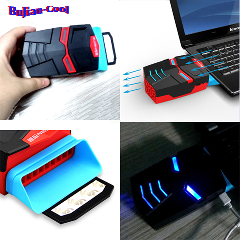 """US LED MINI VACUUM LAPTOP NOTEBOOK COOLING PAD STAND COOLER FAN 13-17""""(China (Mainland))"""