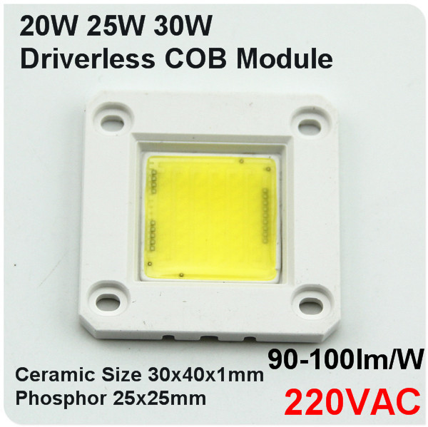 220V Driverless ceramic cob module chips integrated Driver 20W 25W 30W led PCB circuit board assemble flood lights lamp dimmable(China (Mainland))