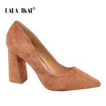 LALA IKAI Kadın Suni Sandalet Süet Katı Renkler Pompası Temel Sandalet Yüksek Topuklar Üzerinde Kayma Sığ Femme moda ayakkabılar 014C1237- 4(China)