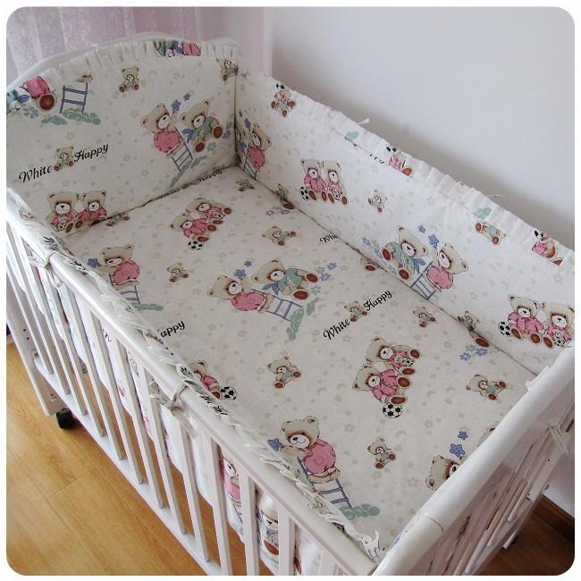discount 6pcs bear baby crib bedding set crib bumper sheet include bumper sheet pillowcase. Black Bedroom Furniture Sets. Home Design Ideas