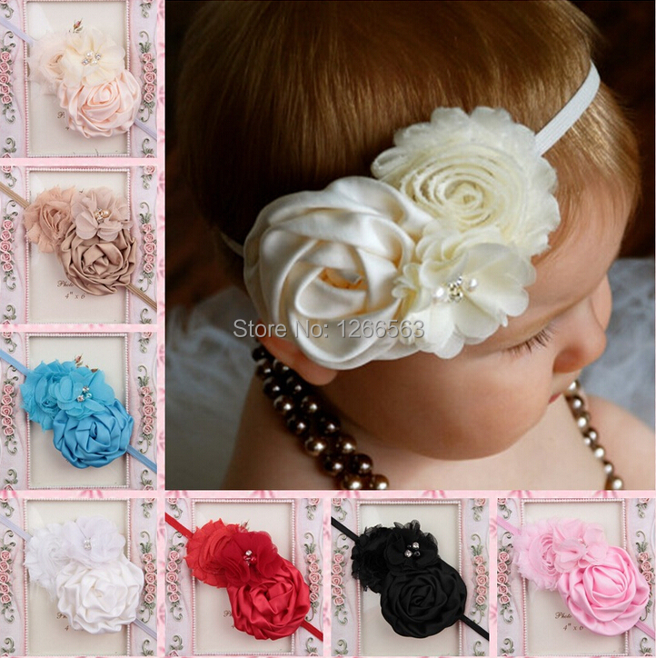 High quality Infant Toddler Baby Headbands Satin Ruffled Flower Headbands Baby Girls Hair Accessories 10ColorsОдежда и ак�е��уары<br><br><br>Aliexpress