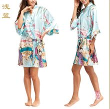 2016 Silk Kimono Robes For Women Satin Bathrobe Long Silk Robes For Bridesmaids Longue Femme Women Dressing Gown Bridesmaid Robe(China (Mainland))