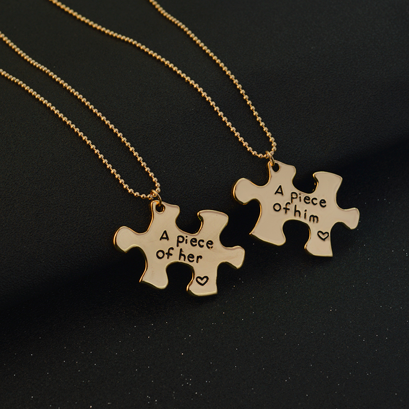 """A piece of her, A piece of him"" Puzzle Couple Necklace Gold"