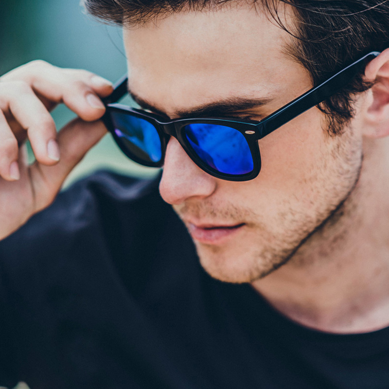 Wayfarer Polarized Sunglasses Men 2015 Designer Eyewear Fashion Multicolor Sun Glasses Points Men Black Summer Beach