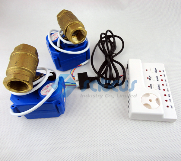 Water Leakage Detection Alarms System with Two Copper Valves DN15 For Cold and Hot Water Auto