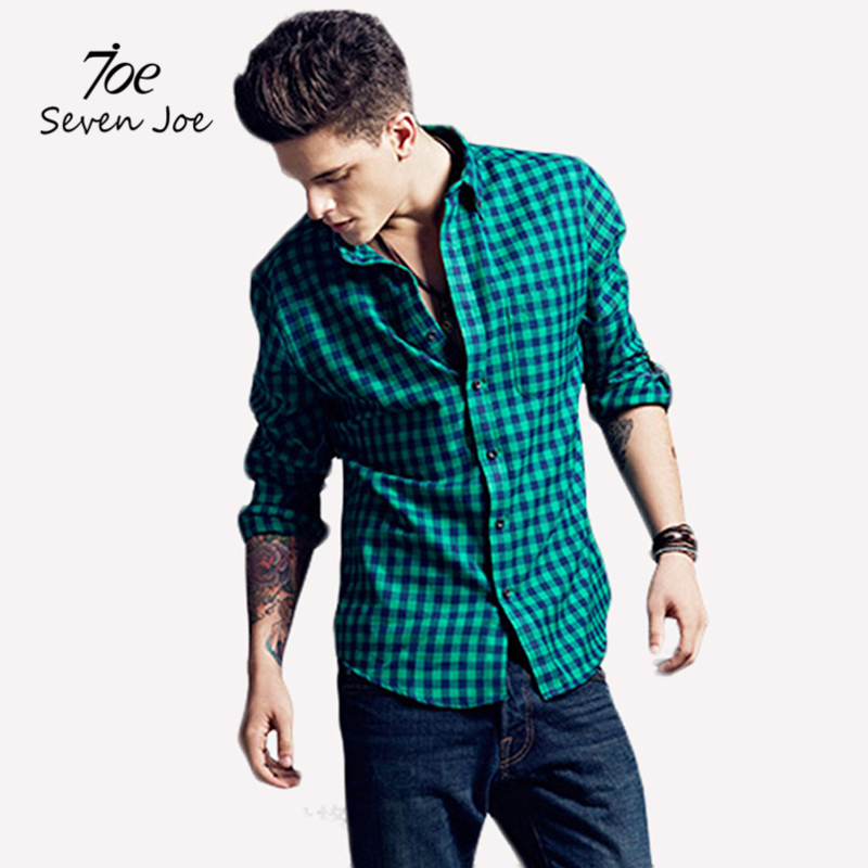 Seven Joe Spring Fall 2016 New Mens Casual Plaid Shirts Long Sleeve Slim Fit Comfort Soft Shirt Leisure Styles Man Clothes(China (Mainland))