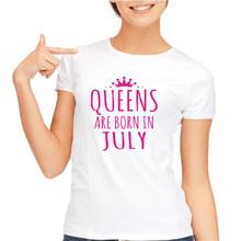Buy summer tops 2017 Print T Shirt Summer Novelty O-Neck Tops Birthday Gift Women Tshirt QUEENS Born July Women T-Shirt for $7.95 in AliExpress store