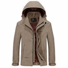2016 New Autumn Spring Outwear AFS JEEP Solid Color Jackets Military Men Coat Pockets Hooded Plus Size 3xl Casual Windproof Coat(China (Mainland))