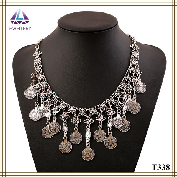 Free Shipping Hot Factory Handmade Fashion Costume Imitation Jewellery Statement Coin Necklace(China (Mainland))