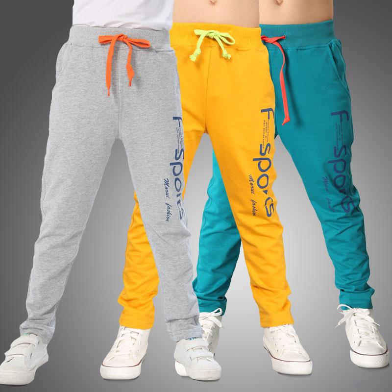 2017 New Fashion Brand Kids Boys Pants Letter Print Cotton Trousers Children Sport Pants Casual Kids Clothes Blue Yellow Grey