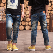 Spring and autumn 2016 children's clothing boys denim trousers autumn male child big boy jeans pants(China (Mainland))