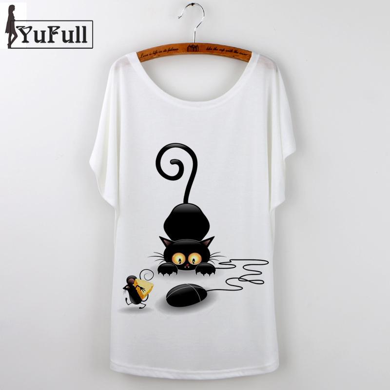 Cat print cute tshirt fashion 2016 summer t shirt women for Cute summer t shirts