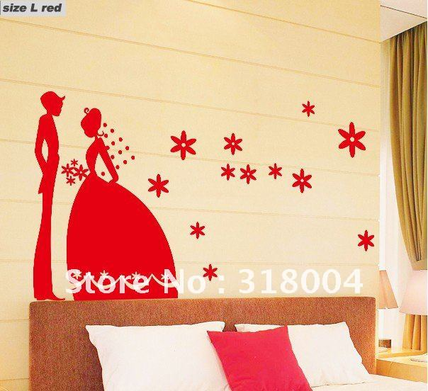 Romantic wedding removable wall sticker wedding room wall for Home decor items on sale