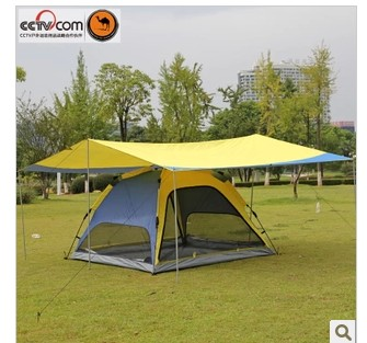 2014 new top fasion 3 - 4 person tent double fiberglass army red outdoor gazebo camel tentorial tent automatic multi-purpose(China (Mainland))