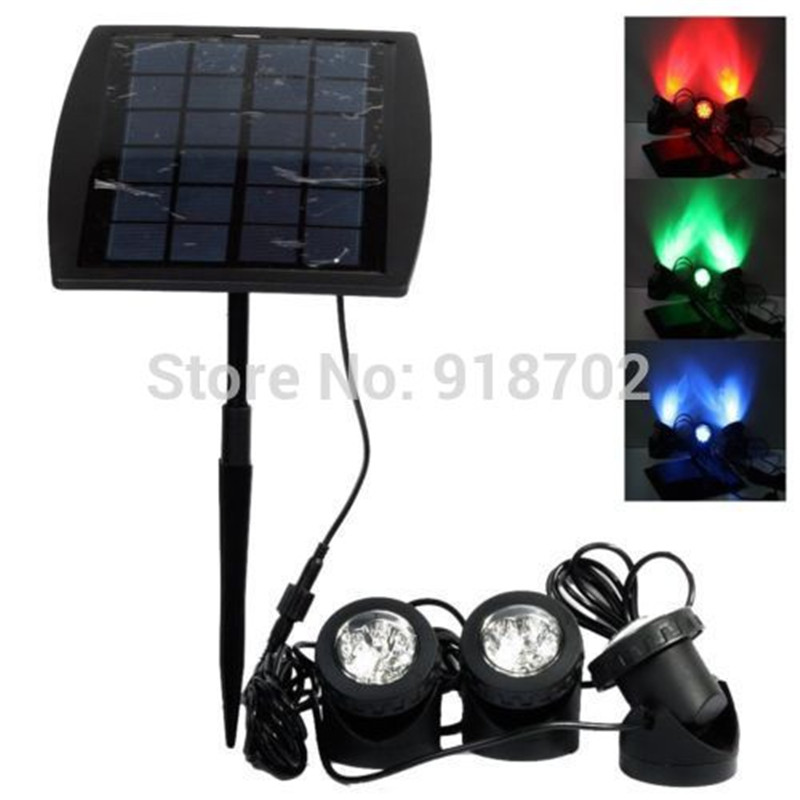 NEW 1PC solar panel with Solar Powered 3 Bulbs Submarine Spotlight 18LEDS RGB/cool white Garden Pool Pond Lamp Underwater Lights(China (Mainland))