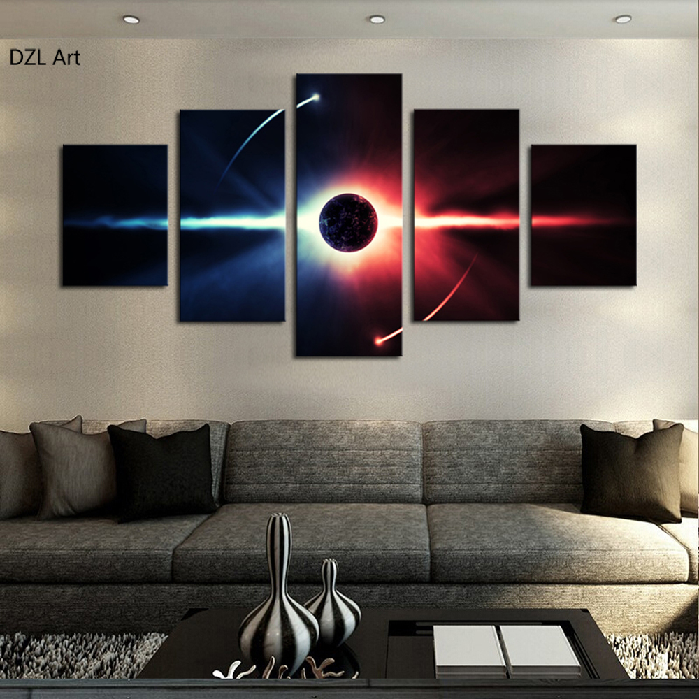 5 Pcs No Frame Large Hd Abstrac Planet Canvas Print Painting For Living Room Wall Art Picture