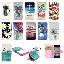 For Apple iPhone 4 4s iPhone4S Wallet Case Cute Chequer Daisy Luxury PU Leather Flip Phone Silicon Cover w Card Slot for Girls