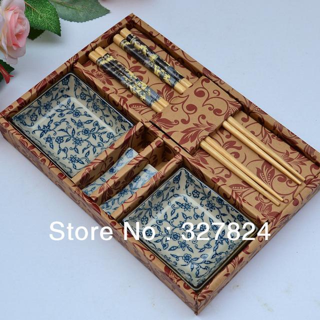 free shipping jingdezhen japanese style sushi tableware ceramic chopsticks dish set wedding gift