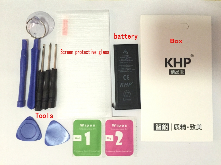 100% Original Brand KHP Phone Battery For iphone 5 5G Real Capacity 1440mAh Gift tools and glass retail packaging