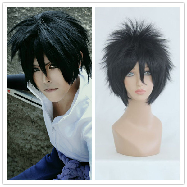 MCOSER New Hot sale Naruto-Uchiha Sasuke Black Cosplay Costume Wig Sasuke Wig Synthetic Wigs Naruto Wig Cosplay Sasuke(China (Mainland))