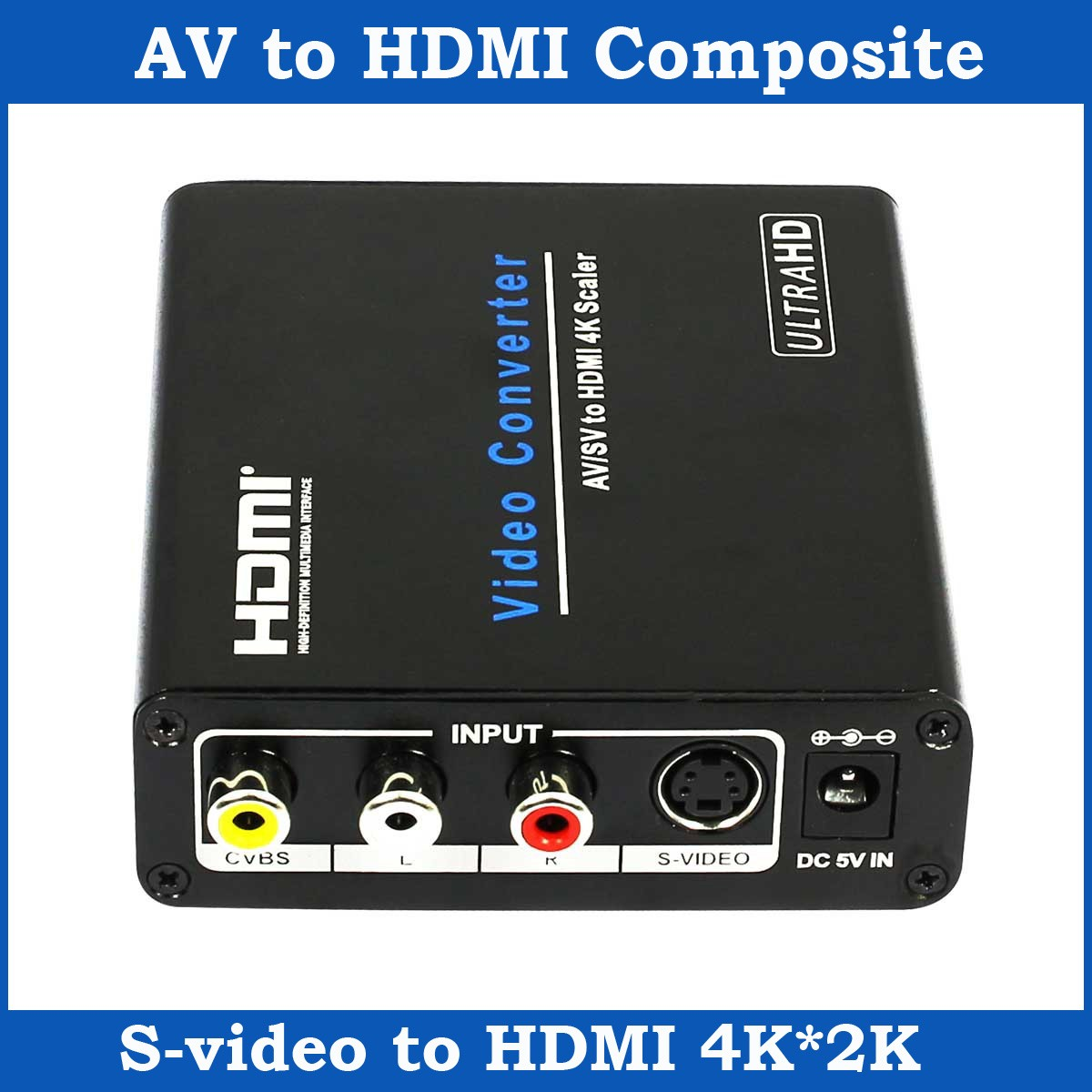 1080P AV S-video RCA to HDMI Composite Audio Video Converter Box CVBSto HDMI Scaler Adapter Support 4K*2K For HDTV Camera DVD(China (Mainland))