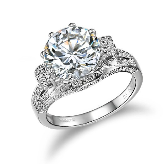 Private Custom Jewelry Brand Moissanite 3CT Engagement Women Ring 14K White Gold Synthetic Diamond Anniversary Ring Moissanite(China (Mainland))