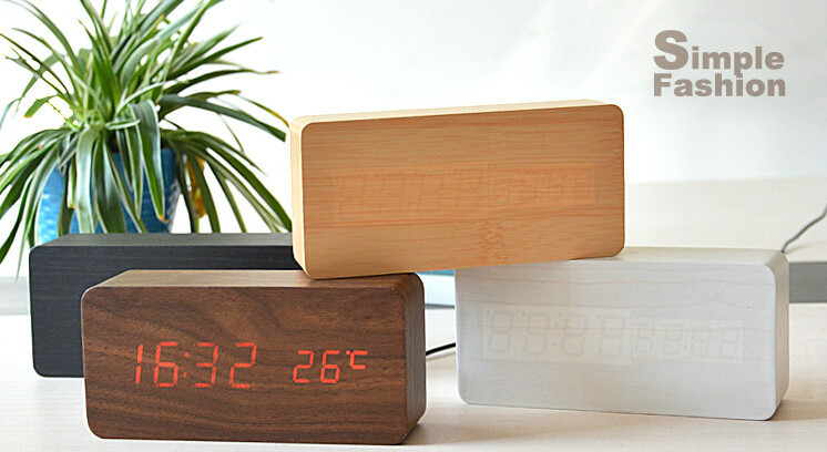 New High Quality Wood Wooden Alarm Table Clocks With Thermometer Big Numbers Digital Clock LED Display(China (Mainland))