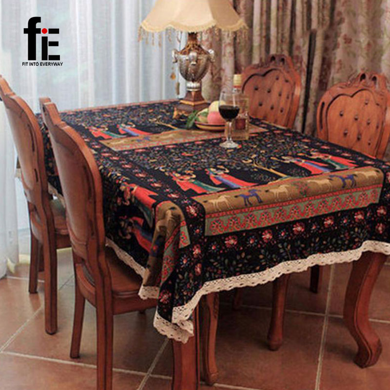 New Fashion National Wind Table Cloth Flowers Printed Home Restaurant Cotton And Linen Dust Tablecloth Square Table Cover(China (Mainland))