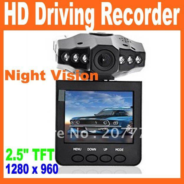 """Free Shipping 2.5"""" TFT Color LCD car DVR 120 degree angel and 270 degree rotating screen, 6 LEDS for IR and night vision"""