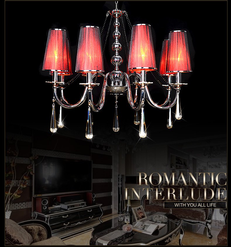 Modern romantic chandelier lighting lamps vintage red pendant crystal chandelier lights fixture bedroom lustre Free shipping(China (Mainland))