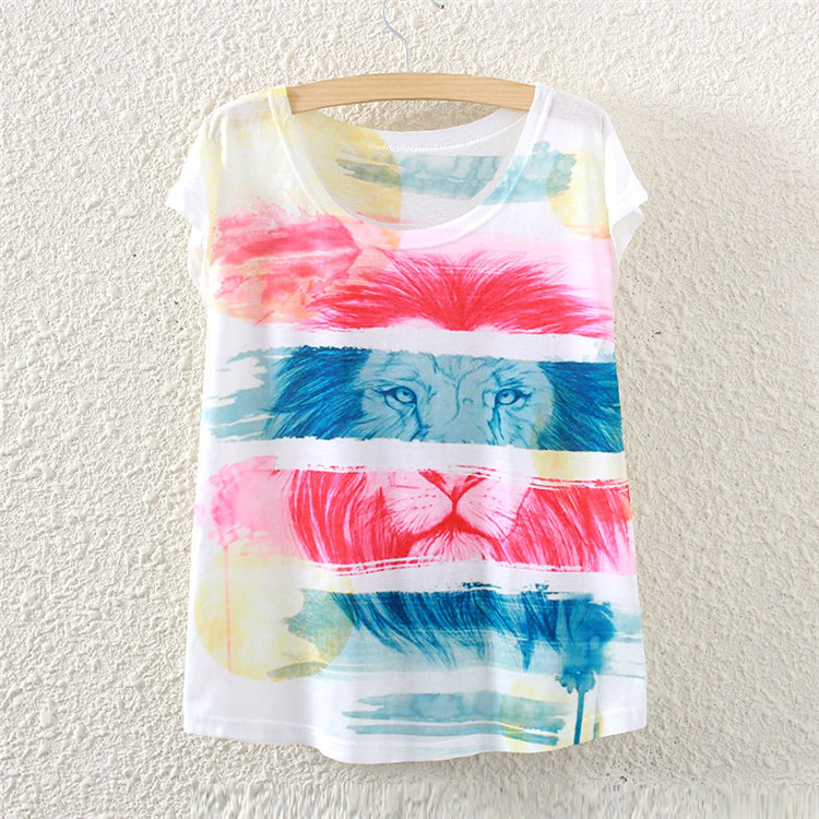 2016 summer style color of the lion fashion women short sleeve T shirt printing loose women