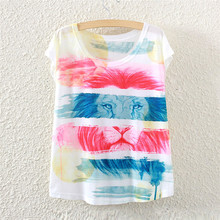 2016 summer style color of the lion fashion women short sleeve T-shirt printing loose women tees tops female t shirt clothing