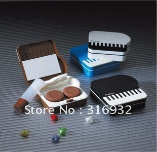 Free Shipping  5pcs/lot piano Contact Lens Case, piano Lenses Box /Colorful Cute Contact lenses case