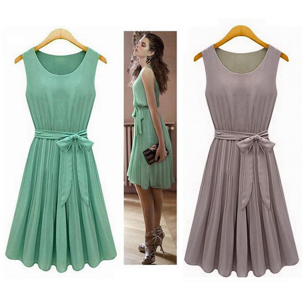 New 2015 Summer Casual Women Chiffon Dresses Sleeveless Vest Pleated Dress with Sashes, Green, Brown, 5005(China (Mainland))